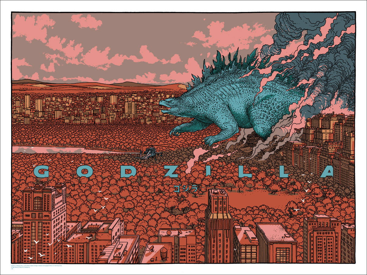 "Godzilla (Variant) by Jared Muralt. 24""x18"" screen print. Hand numbered. Edition of 150. Printed by D&L Screenprinting. $60"