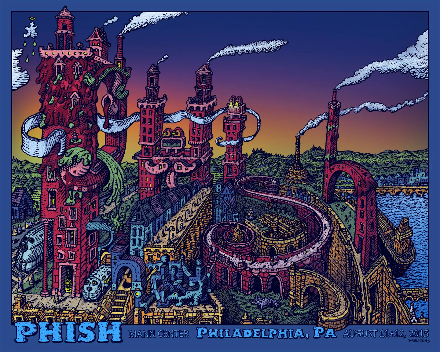 """Phish - Philadelphia, PA 2015"" by David Welker.  20"" x 16"" 5-color Screenprint.  Ed of 800.  $50"