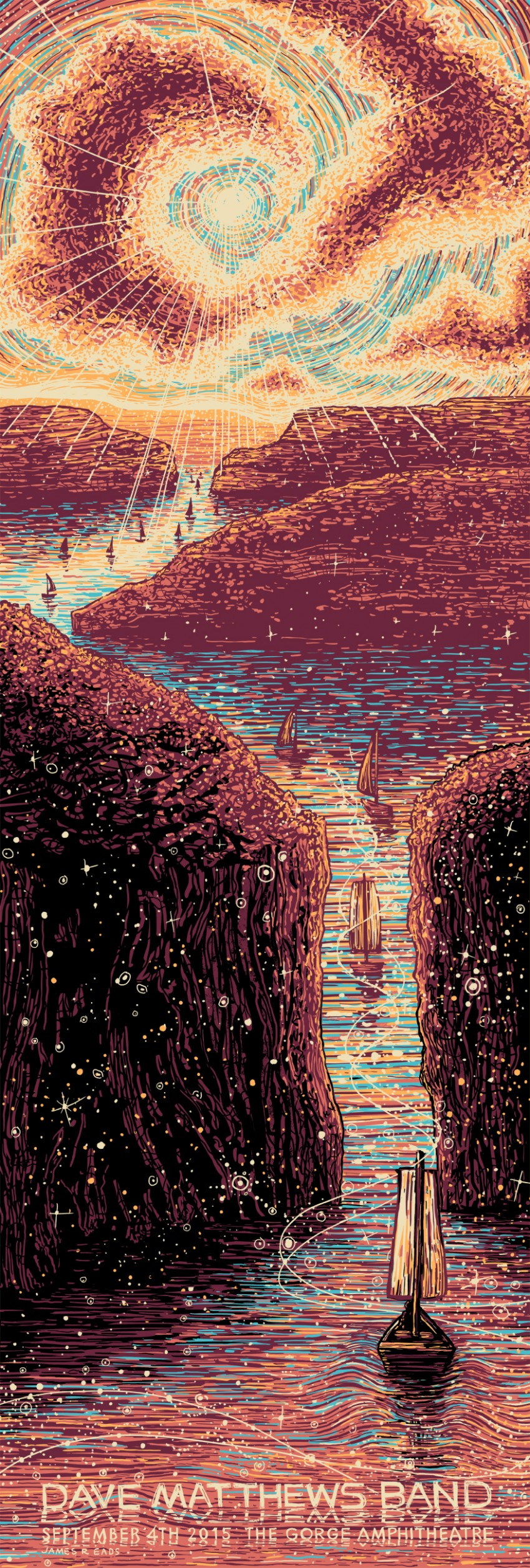 """Dave Matthews Band - Quincy, WA 2015"" by James R Eads.  12"" x 36"" 5-color Screenprint.  AP edition of 120 S/N.  $75"