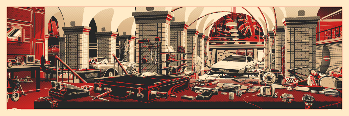 """The Desk of Q (007)"" by Rob Loukotka.  12"" x 36"" 3-color Screenprint.  Ed of 490 S/N.  $45"