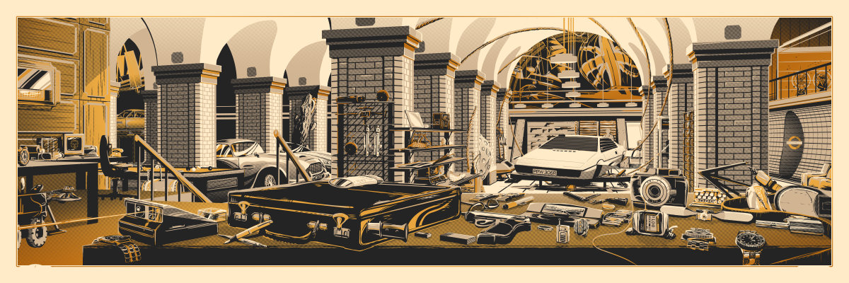 """The Desk of Q (007)"" by Rob Loukotka.  12"" x 36"" 3-color Screenprint w/ Metallic Gold Overlay.  Ed of 190 S/N.  $65 (Gold variant)"