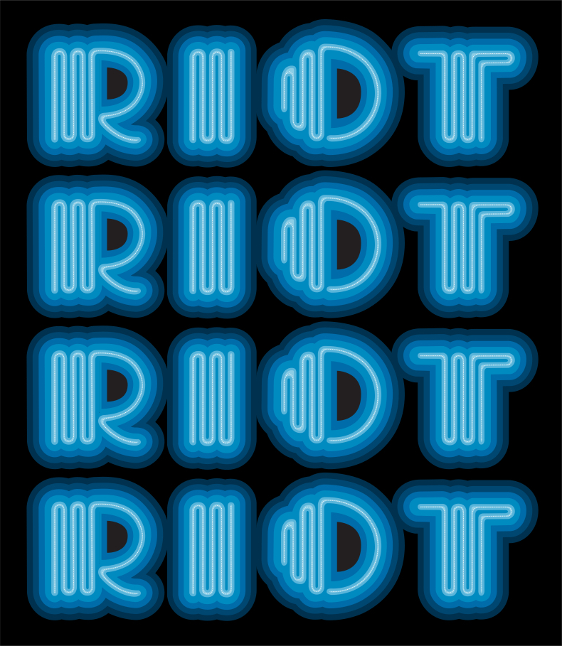 """Riot"" by Eine.  29"" x 33.5"" 9-color Screenprint.  Ed of 15 S/N.  $500 (Blue)"
