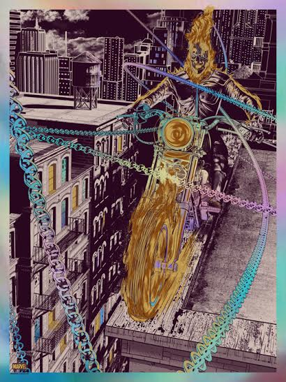 """""""Ghost Rider"""" by Chris Skinner.  18"""" x 24"""" Screenprint.  Ed of 125.  $60 (Holographic Foil)"""