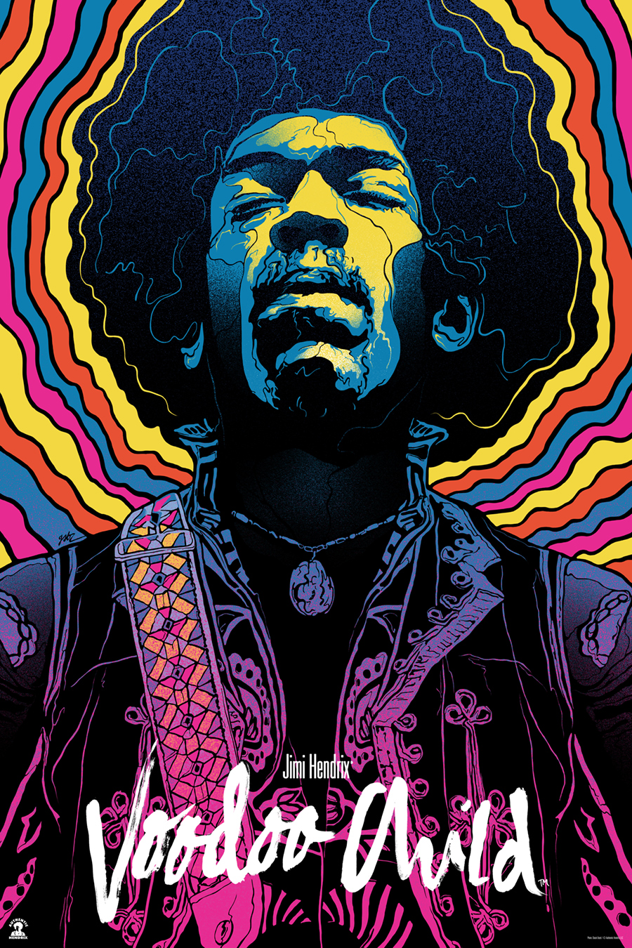 """Jimi Hendrix, Voodoo Child"" by Gabz.  24"" x 36"" Screenprint.  Standard (Ed of 280, $65) : Foil (Ed of 10, $150)"