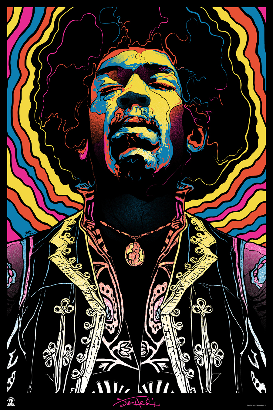 """Jimi Hendrix, Voodoo Child"" by Gabz.  24"" x 36"" Screenprint.  Variant (Ed of 50, $100) : Foil (Ed of 10, $150)"