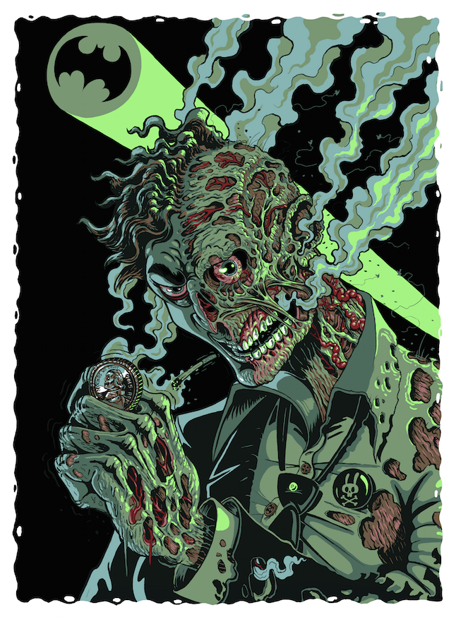 """Two-Face"" by Nychos.  60 x 80cm 8-color Screenprint.  Ed of 100.  60 Euro ($67)"