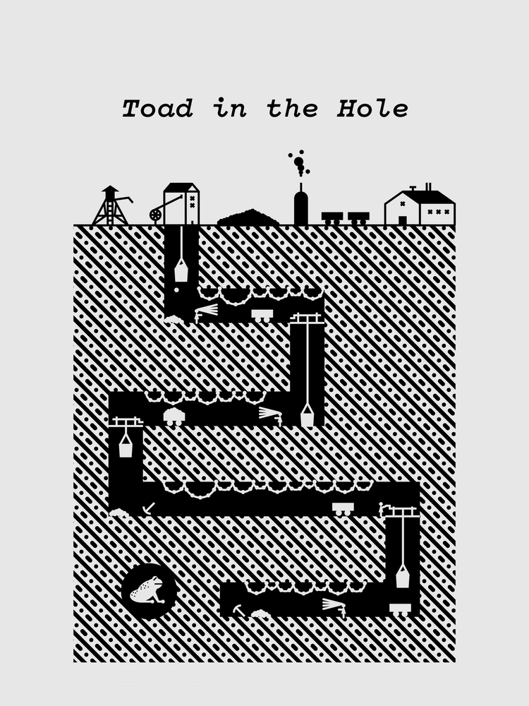 """""""Toad in the Hole"""" by Michael Norcross.  18"""" x 24"""" 1-color Screenprint.  Ed of 10 S/N.  $50"""