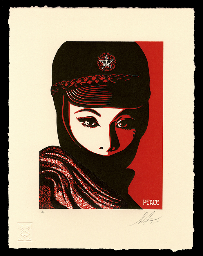 """Mujer Fatale"" by Shepard Fairey.  10"" x 13"" 2-color Letterpress.  Ed of 450 S/N.  $65"