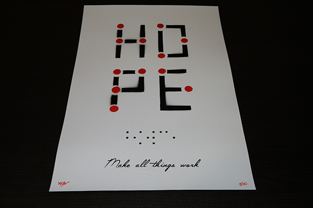 """Hope"" by Noa.  330 x 490mm Mixed Media.  Ed of 10 S/N.  30 Euro ($34) (Black/Red)"
