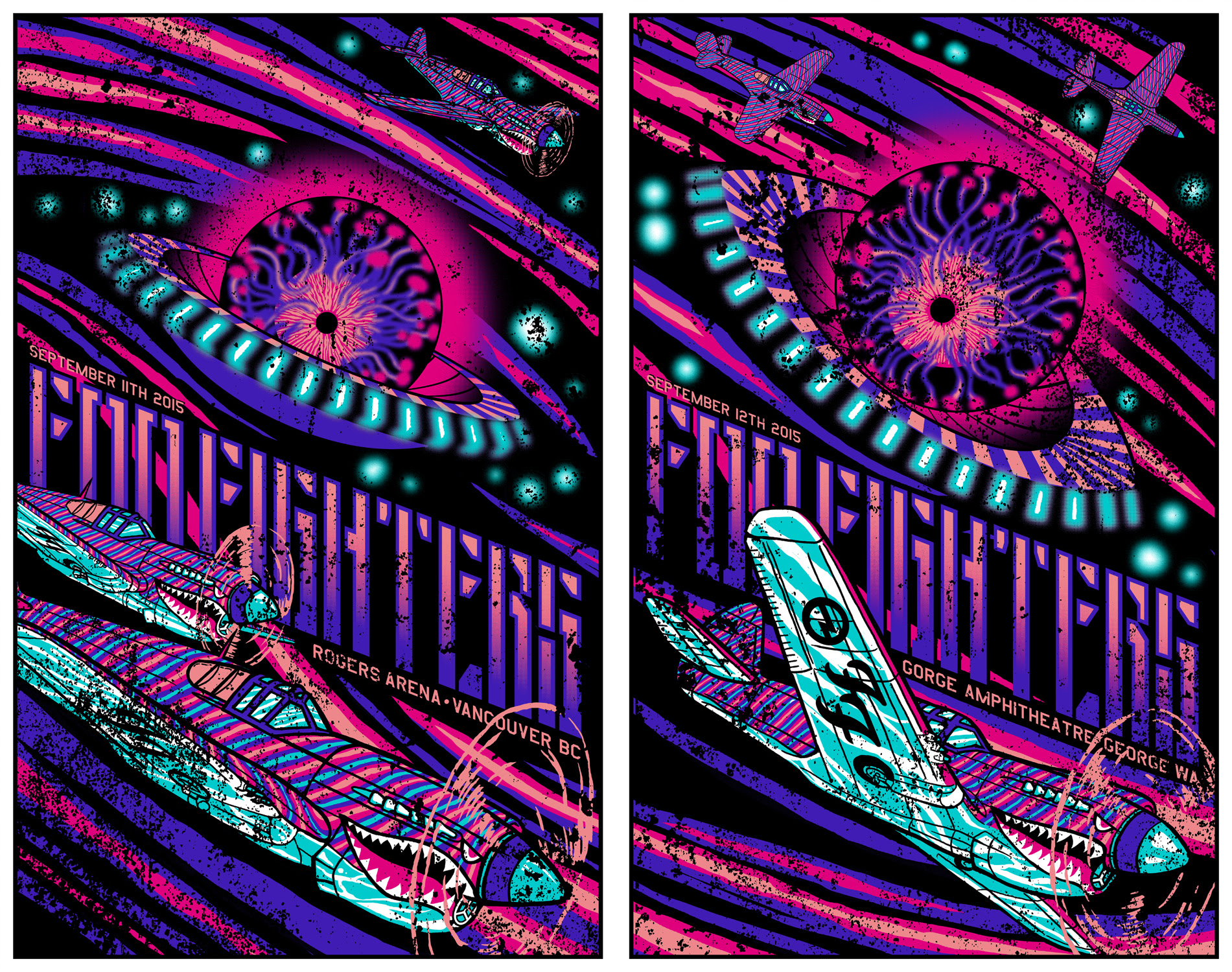 """Foo Fighter - Vancouver BC + George, WA 2015"" by Brad Klausen.  (2) 15.25"" x 24"" 6-color Screenprints.  Ed of 100 S/N.  $60 set : $35 each"