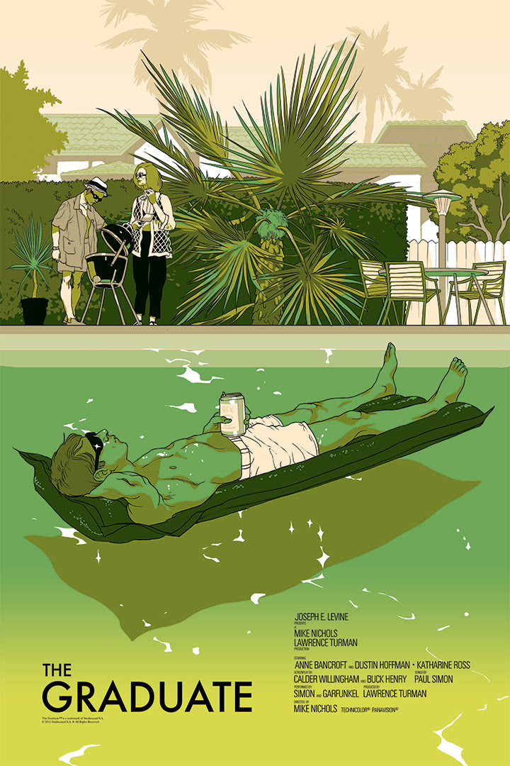 "The Graduate by Tomer Hanuka. 24""x36"" screen print. Hand numbered. Edition of 250. Printed by D&L Screenprinting. $45"