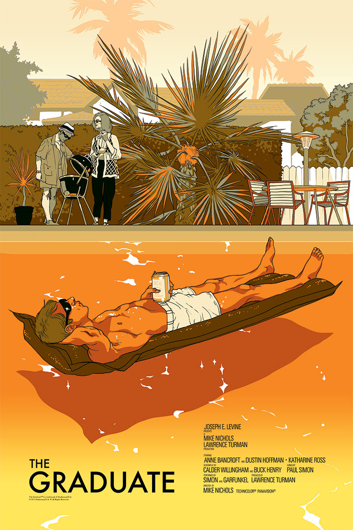 "The Graduate (Variant) by Tomer Hanuka. 24""x36"" screen print. Hand numbered. Edition of 150. Printed by D&L Screenprinting. $65"