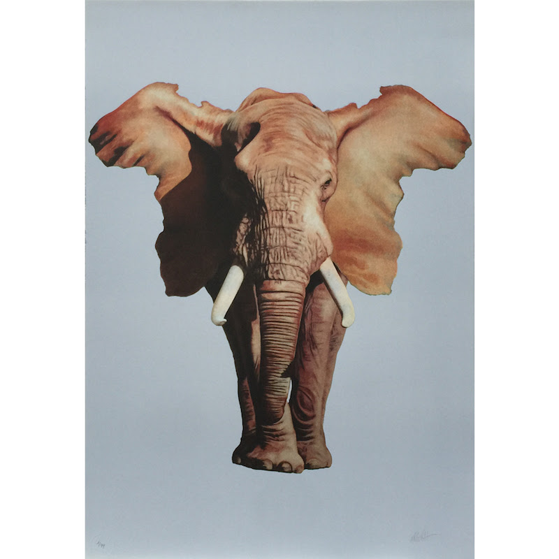 """African Elephant"" by Ron English.   87 x 60.50cm 6-color Lithograph.  Ed of 99 S/N.  £329 ($505)"