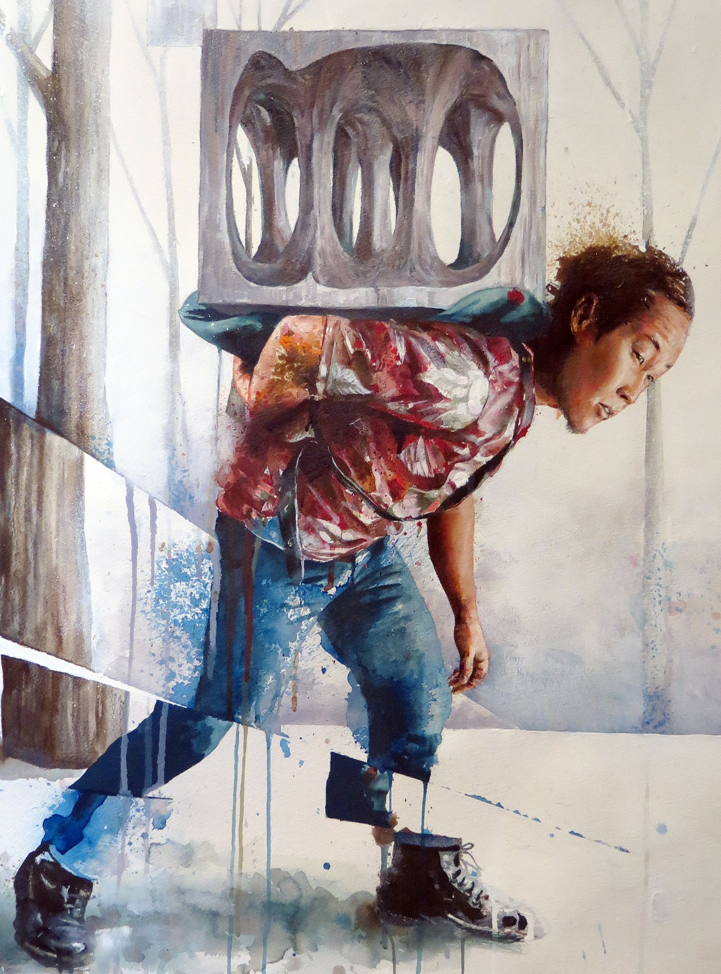 """Moving The Forgotten Monument"" by Fintan Magee.  18"" x 24"" Giclee w/ varnish layer.  Ed of 40 S/N.  $225"