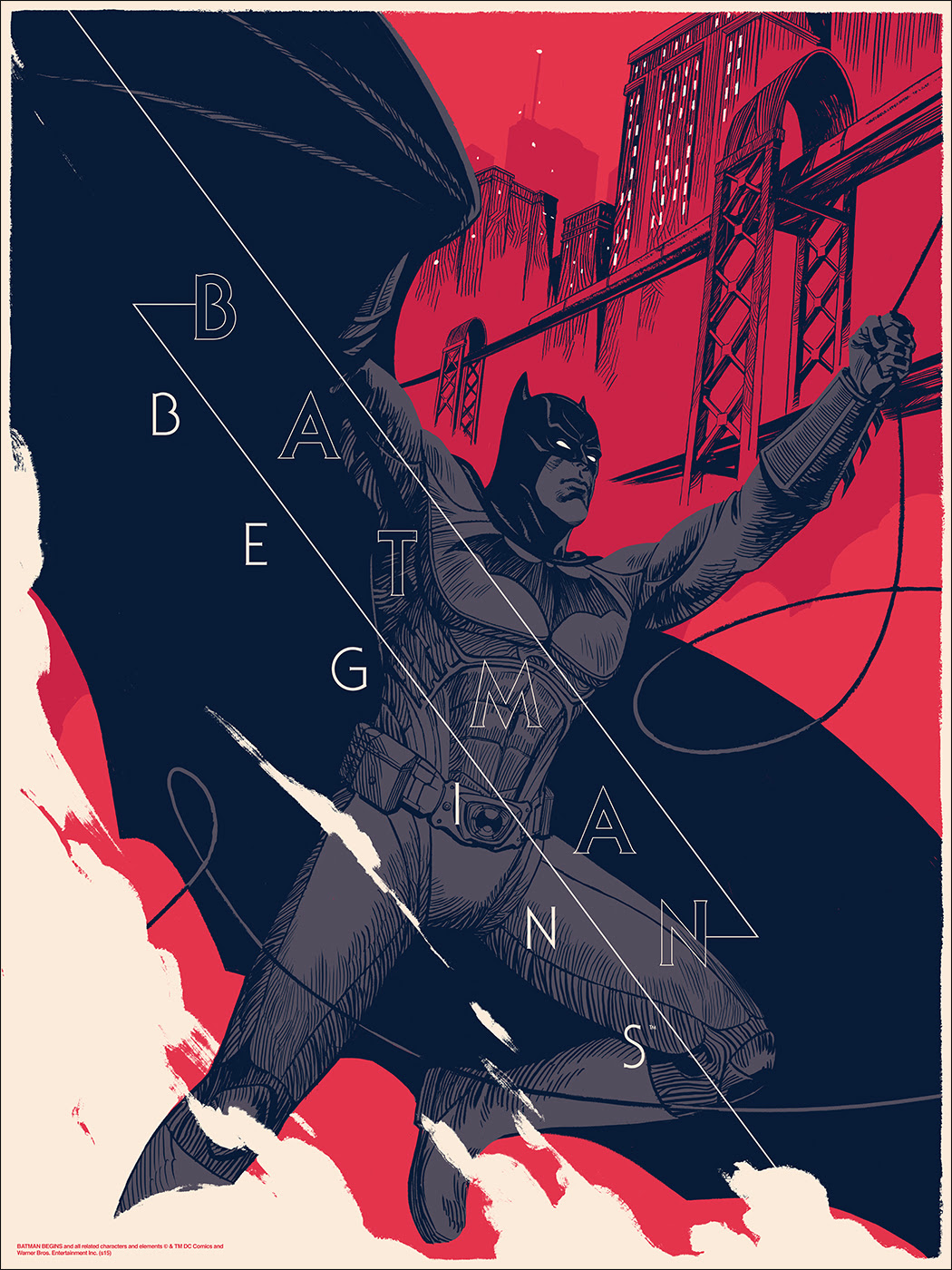 "Batman Begins by Patrick Leger. 18""x24"" screen print. Hand numbered. Edition of 275. Printed by D&L Screenprinting. $45"