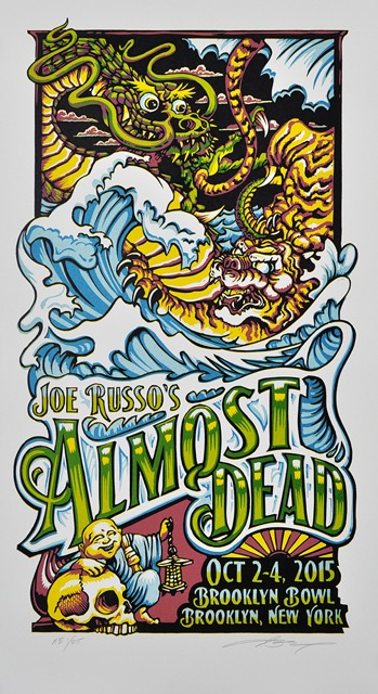 """Joe Russo's Almost Dead - Brooklyn, NY 2015"" by AJ Masthay.  14.5"" x 25.5"" 7-color Linoleum Block.  AP edition of 25 S/N.  $35"