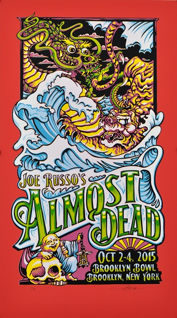 """Joe Russo's Almost Dead - Brooklyn, NY 2015"" by AJ Masthay.  14.5"" x 25.5"" 7-color Linoleum Block.  Ed of 12 S/N.  $75 (Red Plike Variant)"