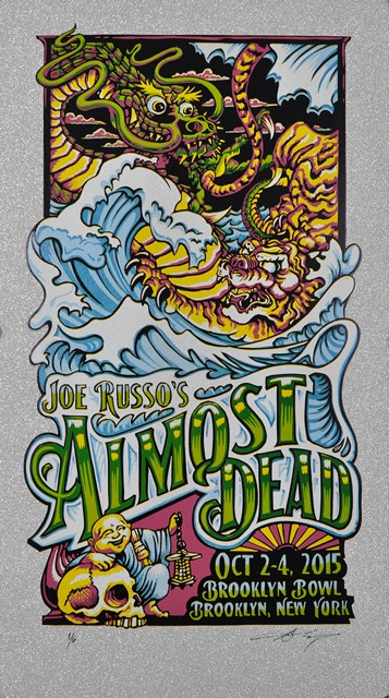 """Joe Russo's Almost Dead - Brooklyn, NY 2015"" by AJ Masthay.  14.5"" x 25.5"" 7-color Linoleum Block.  Ed of 6 S/N.  $75 (Diamond Sparkle Variant)"
