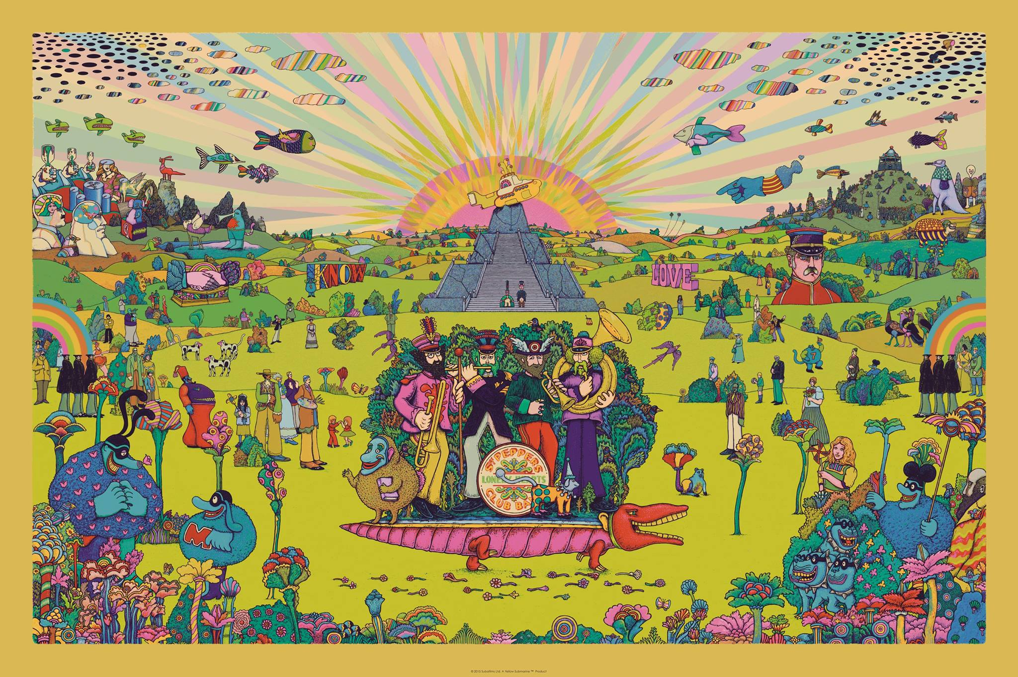 """Pepperland"" by Marq Spusta.  24"" x 36"" 10-color Screenprint.  Ed of 150 S/N.  $125 (Gold variant)"