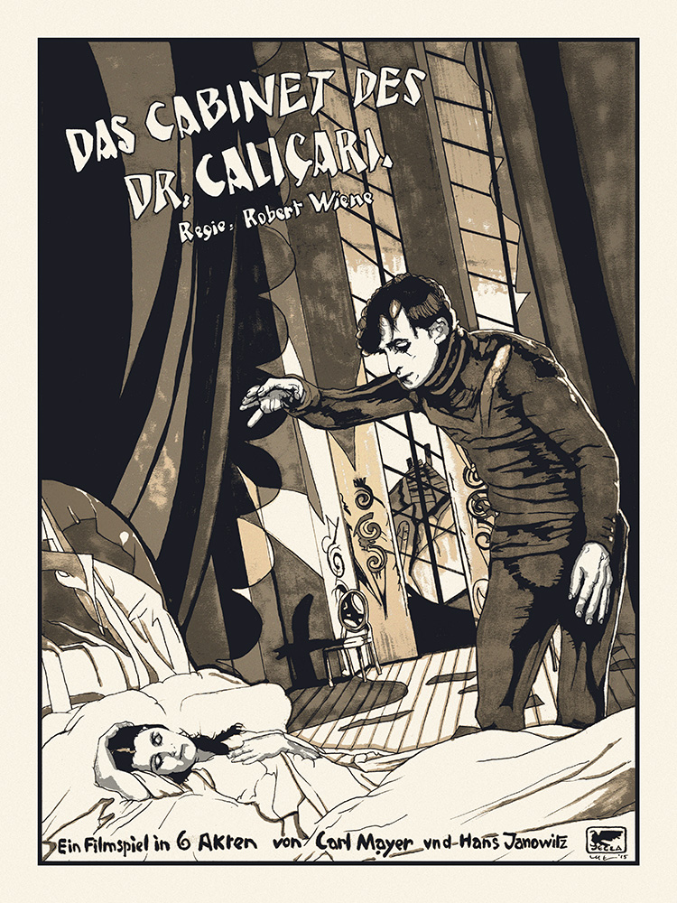 """Das Cabinet des Dr. Caligari"" by N.E.  18"" x 24"" 4-color Screenprint.  Ed of 33 S/N.  $50 (Gold)"