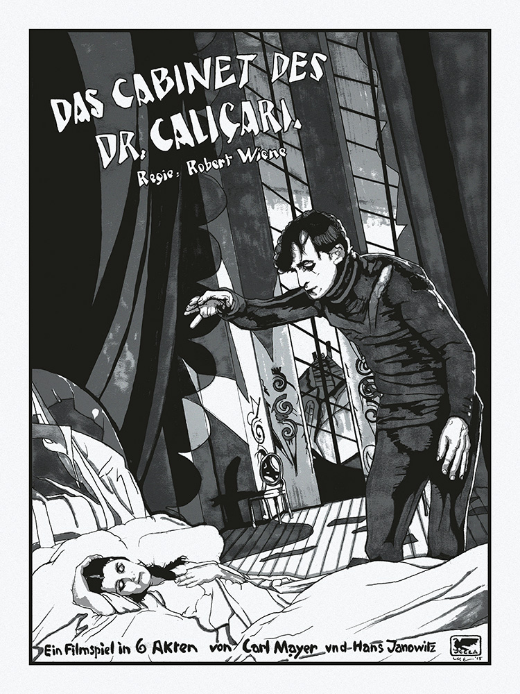 """Das Cabinet des Dr. Caligari"" by N.E.  18"" x 24"" 4-color Screenprint.  Ed of 33 S/N.  $35 (Silver)"