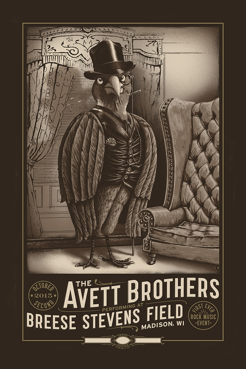"""The Avett Brothers - Madison, WI 2015"" by Dig My Chili.  16"" x 24"" 6-color Screenprint.  Ed of 225 S/N.  $35"