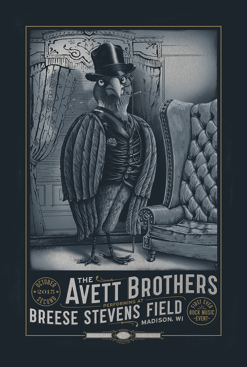 """The Avett Brothers - Madison, WI 2015"" by Dig My Chili.  16"" x 24"" 6-color Screenprint.  Ed of 55 S/N.  $60 (variant)"