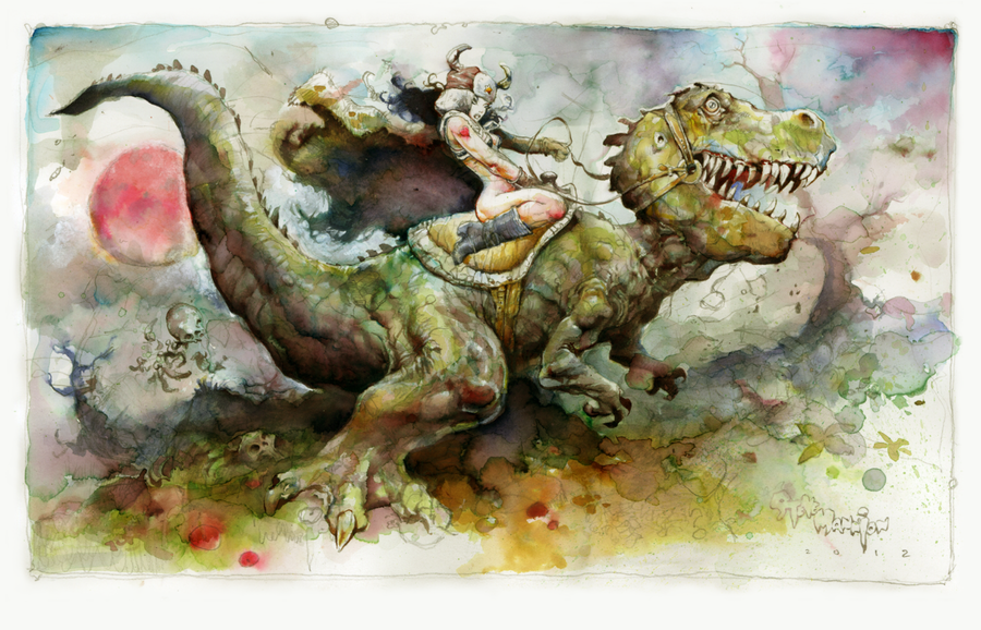 """Dino Rider"" by Steve Mannion.  11"" x 17"" Giclee.  Timed edition S/N.  $35"