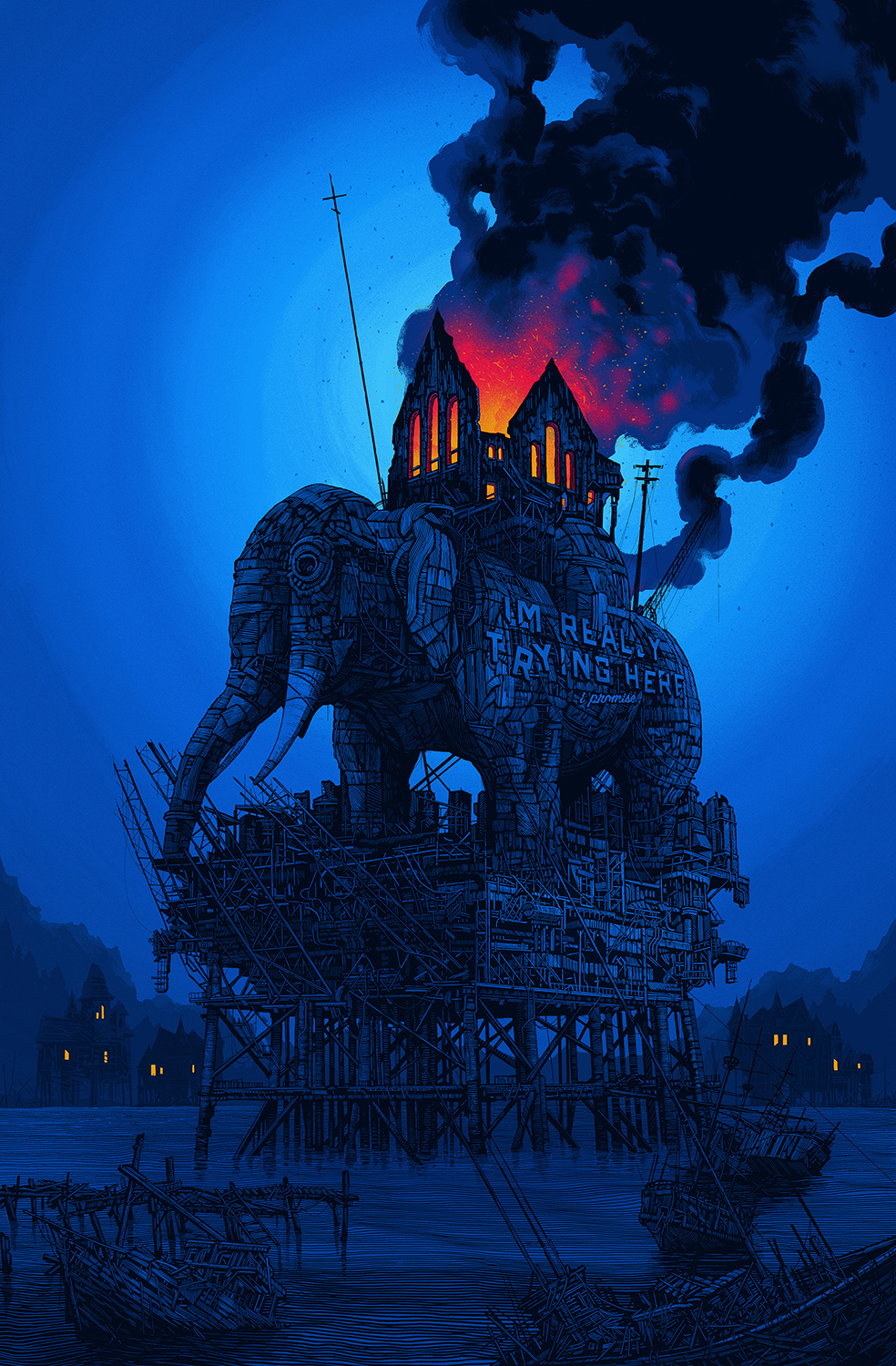 """this ship will right itself"" by Daniel Danger.  24"" x 36"" 12-color Screenprint.  Ed of 300.  $100"