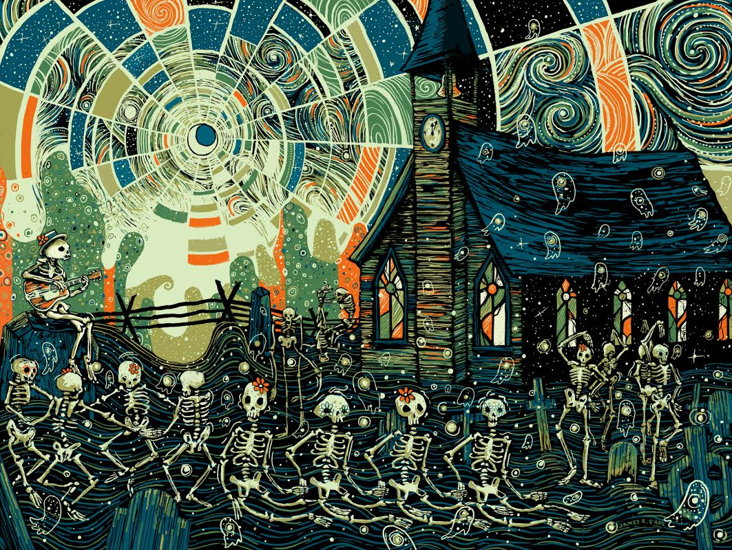 """The Skully Mambo II"" by James R Eads.  18""  x 24"" 5-color Screenprint.  Timed edition S/N.  $40"