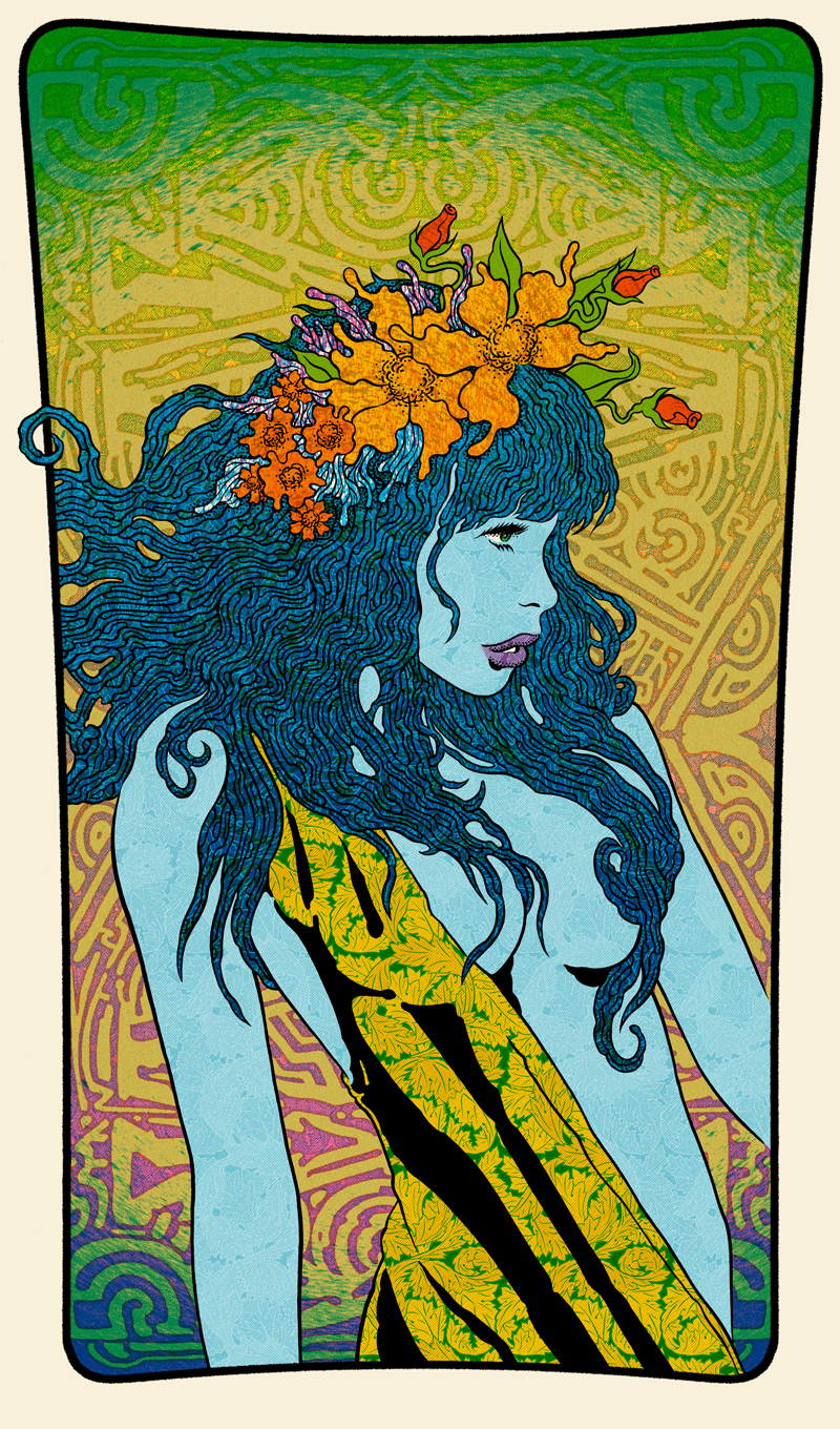 Maenad (Blue), 2015 20 x 34 Edition of 30 7 color screenprint on oak panel Signed and Numbered