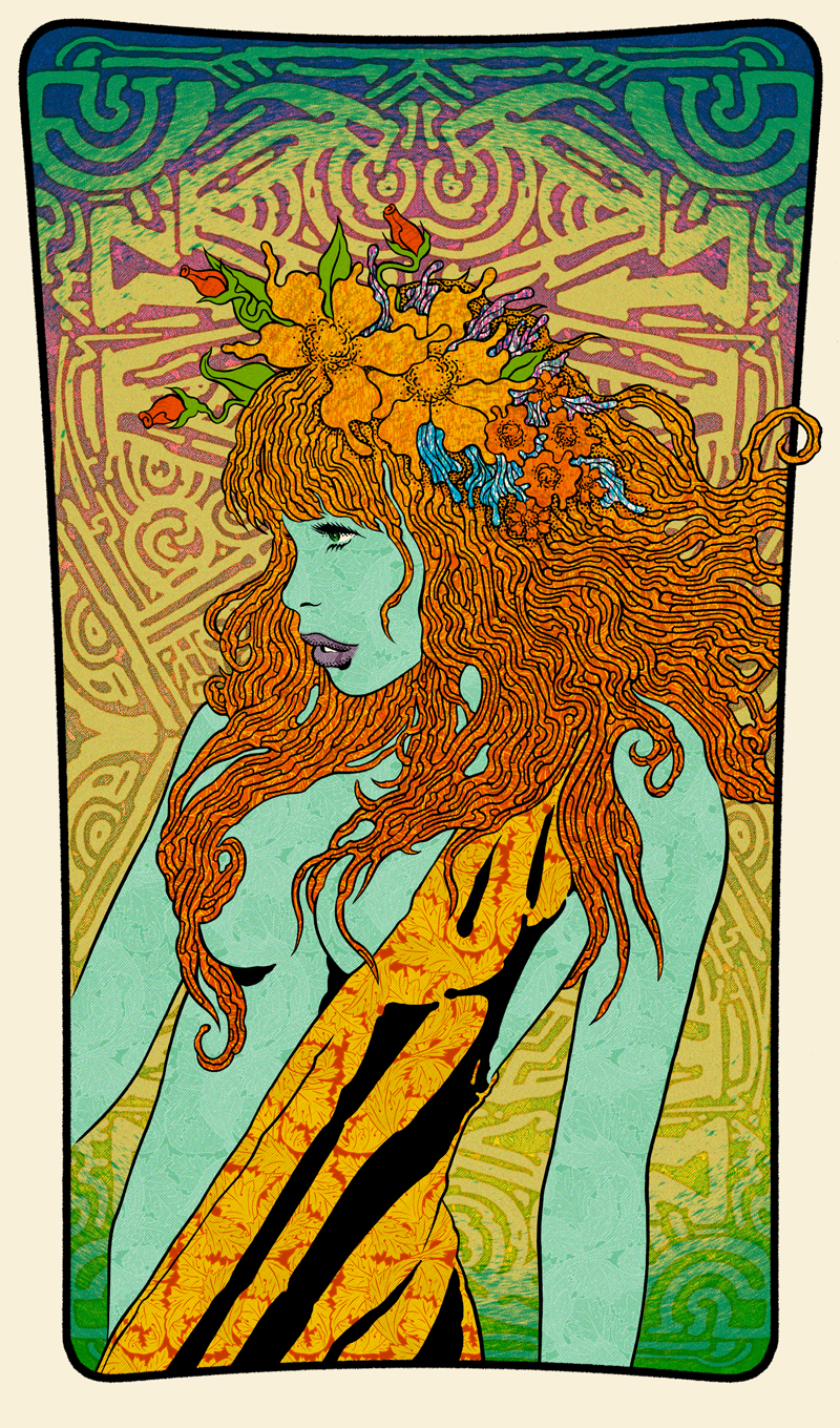 Maenad (Green), 2015 20 x 34 Edition of 30 7 color screenprint on oak panel Signed and Numbered