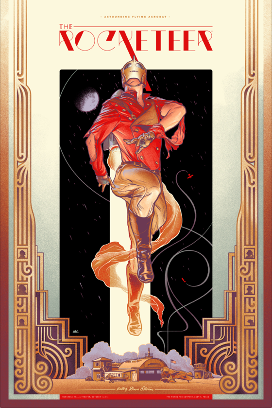 "The Rocketeer by Martin Ansin. 24""x36"" screen print. Hand numbered. Edition of 400. Printed by D&L Screenprinting. $50"