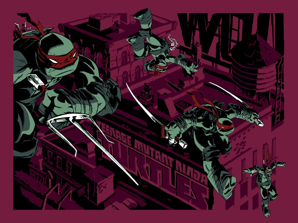 "TMNT (Variant) by Ciro Nieli. 24""x18"" screen print. Hand numbered. Edition of 125. Printed by D&L Screenprinting. $60"