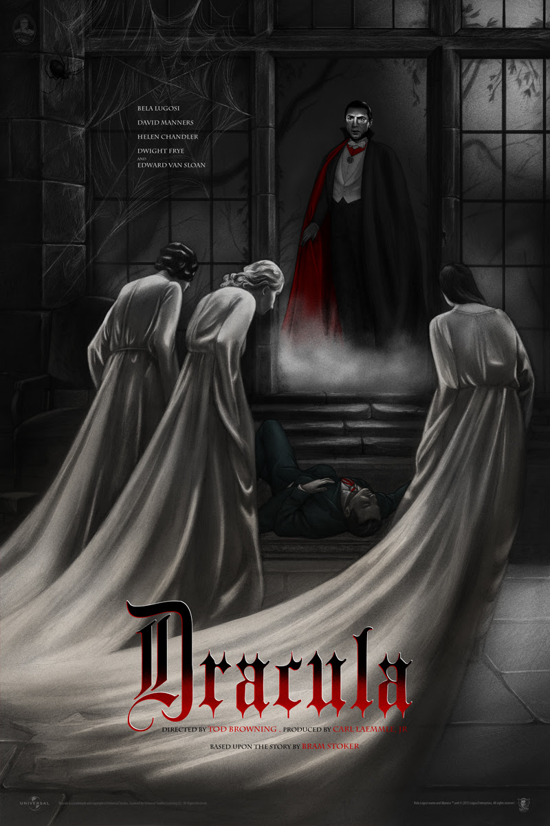 "Dracula by Jonathan Burton. 24""x36"" screen print. Hand numbered. Edition of 325. Printed by D&L Screenprinting. $45"