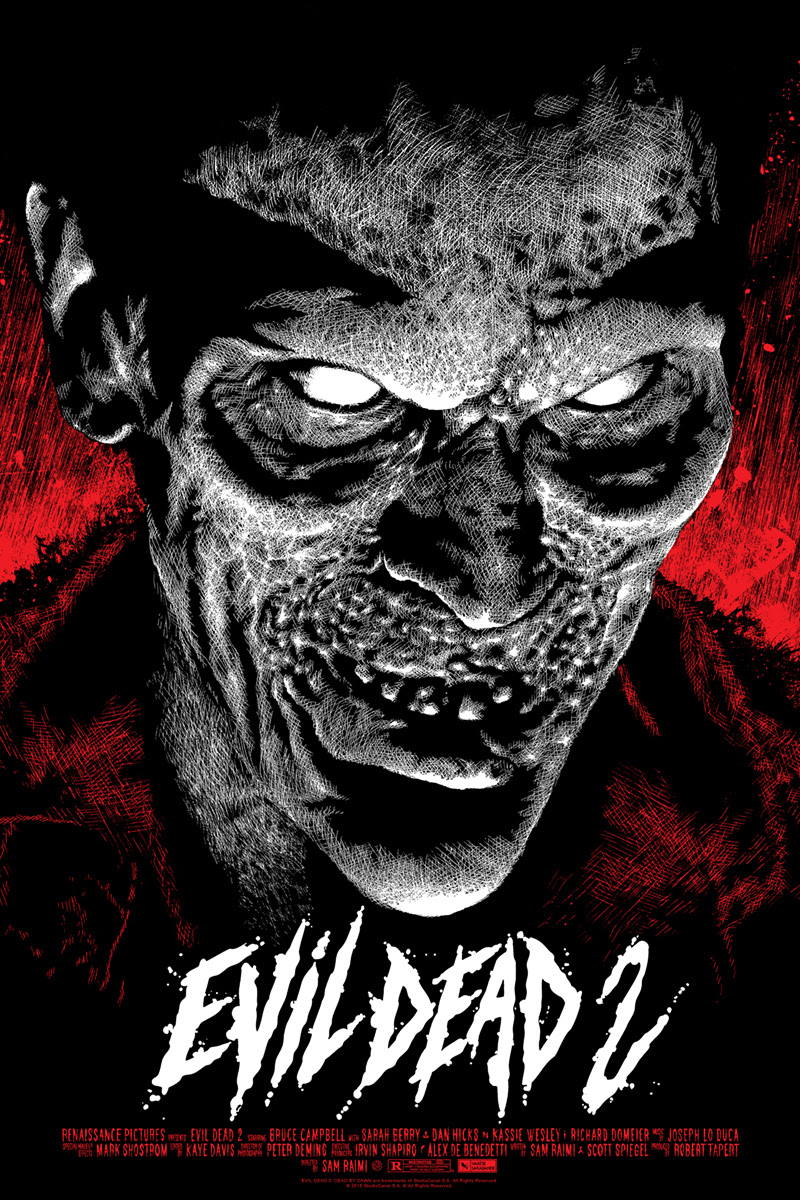 "Evil Dead 2 by Elvisdead. 24""x36"" screen print. Hand numbered. Edition of 225. Printed by D&L Screenprinting. $45"