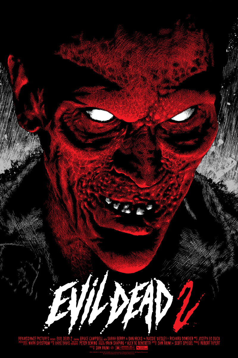 "Evil Dead 2 (Variant) by Elvisdead. 24""x36"" screen print. Hand numbered. Edition of 100. Printed by D&L Screenprinting. $65"