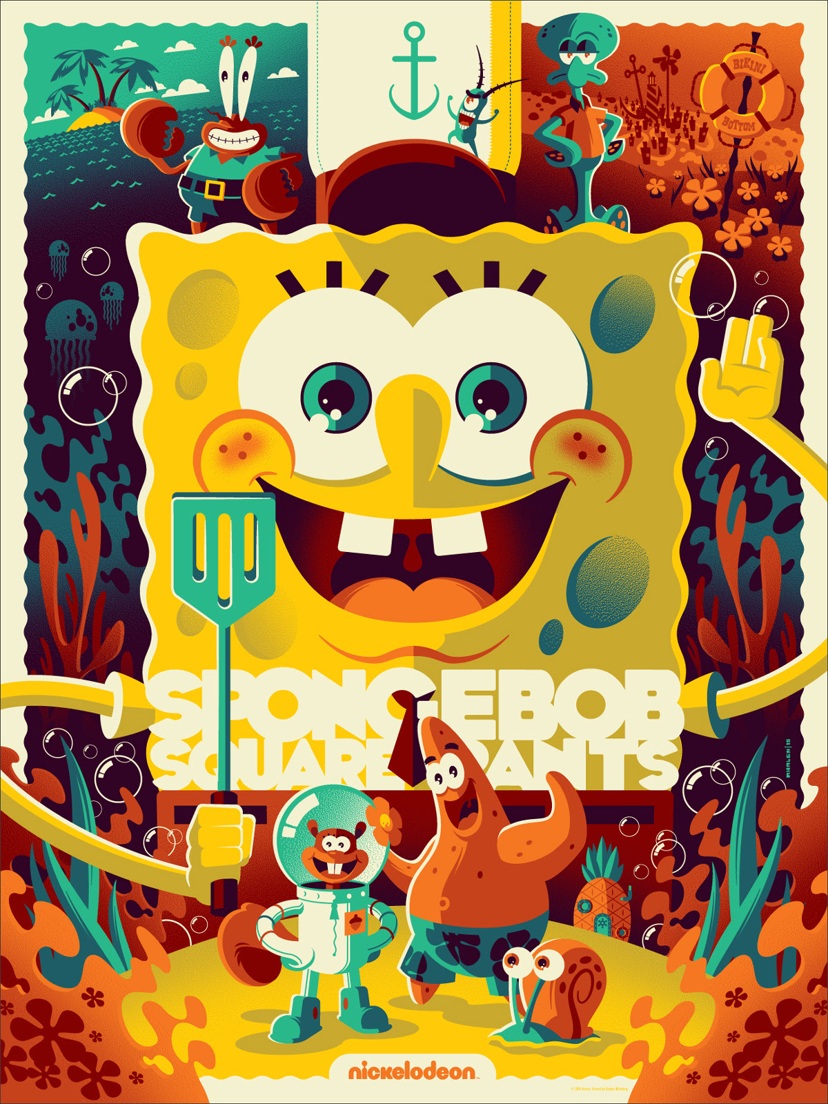 "Spongebob Squarepants by Tom Whalen. 18""x24"" screen print. Hand numbered. Edition of 350. Printed by D&L Screenprinting. $40"