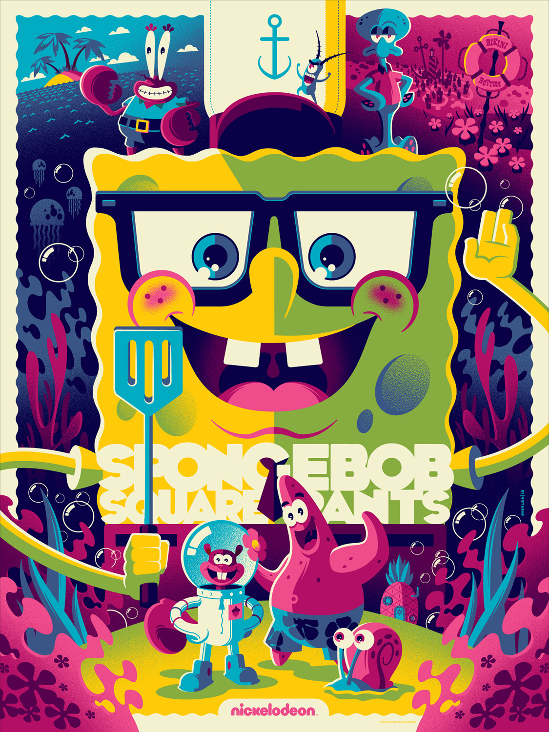 "Spongebob Squarepants (Variant) by Tom Whalen. 18""x24"" screen print. Hand numbered. Edition of 175. Printed by D&L Screenprinting. $60"