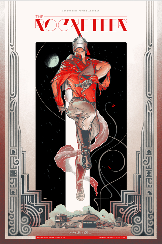 "The Rocketeer (Variant) by Martin Ansin. 24""x36"" screen print. Hand numbered. Edition of 200. Printed by D&L Screenprinting. $75"
