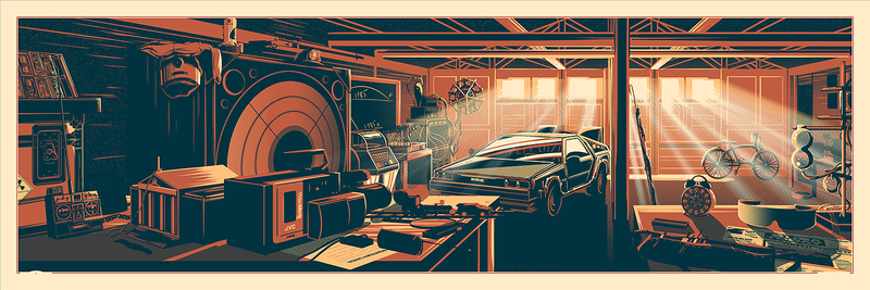 """The Desk of Dr. Brown"" by Rob Loukotka.  12"" x 36"" 3-color Screenprint.  Ed of 375 S/N.  $45"