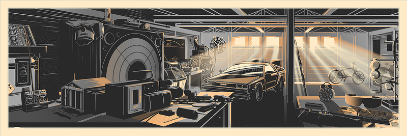 """The Desk of Dr. Brown"" by Rob Loukotka.  12"" x 36"" 3-color Screenprint.  Ed of 175 S/N.  $65 (Metallic variant)"