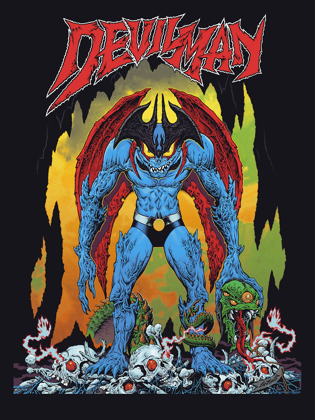 "Devilman by Mike Sutfin. 24""x36"" screen print. Hand numbered. Edition of 300. Printed by D&L Screenprinting. $45"
