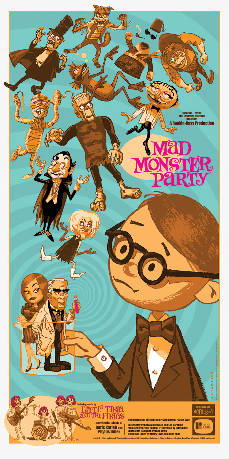 "Mad Monster Party by Mark Chiarello. 15""x30"" screen print. Hand numbered. Edition of 200. Printed by D&L Screenprinting. $40"