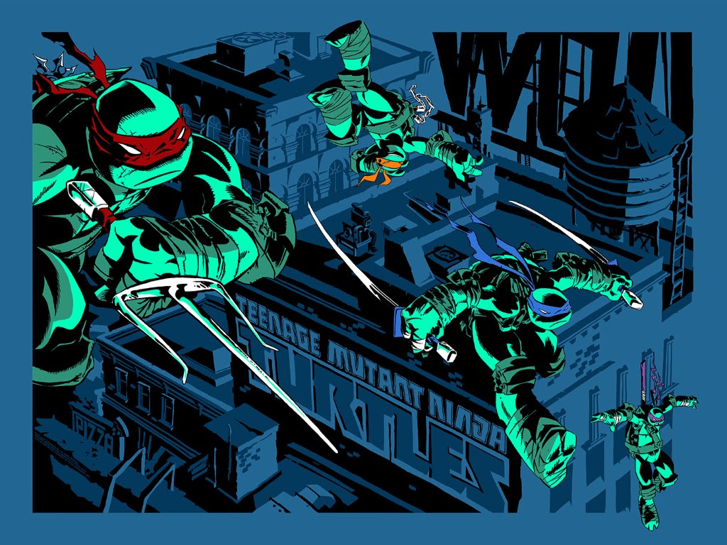 "TMNT by Ciro Nieli. 24""x18"" screen print. Hand numbered. Edition of 225. Printed by D&L Screenprinting. $40"