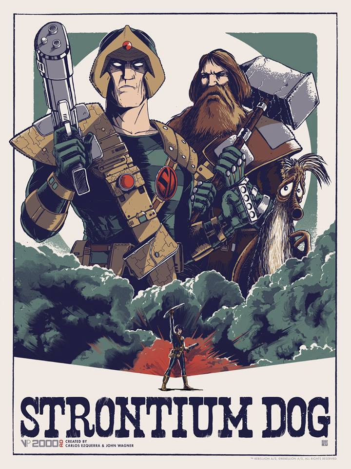 """Strontium Dog"" by Matt Ferguson.  18"" x 24"" Screenprint.  Ed of 100.  £25 ($38)"
