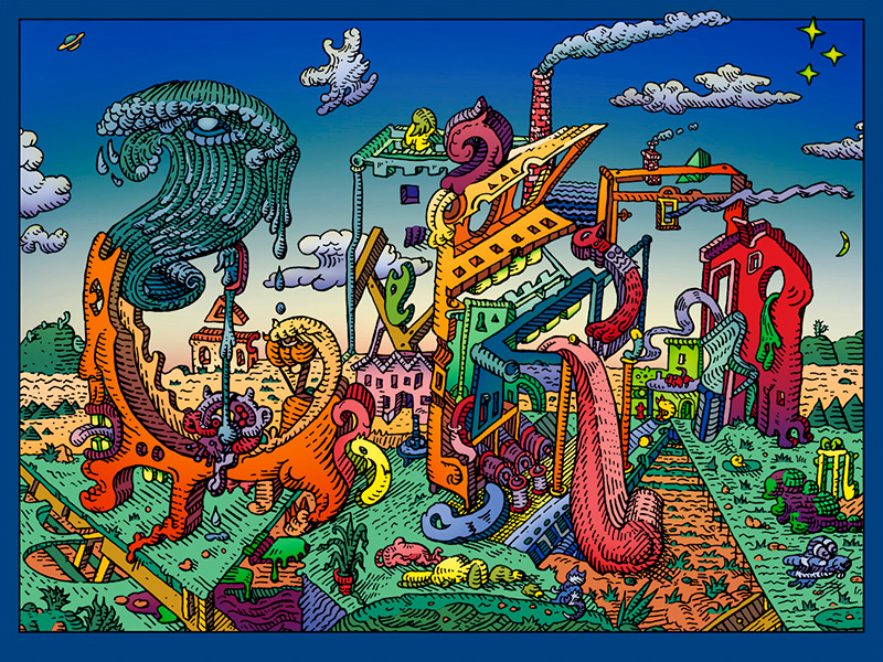 """Letters on Vacation"" by David Welker.  18"" x 24"" Screenprint.  Ed of 100 S/N.  $120"