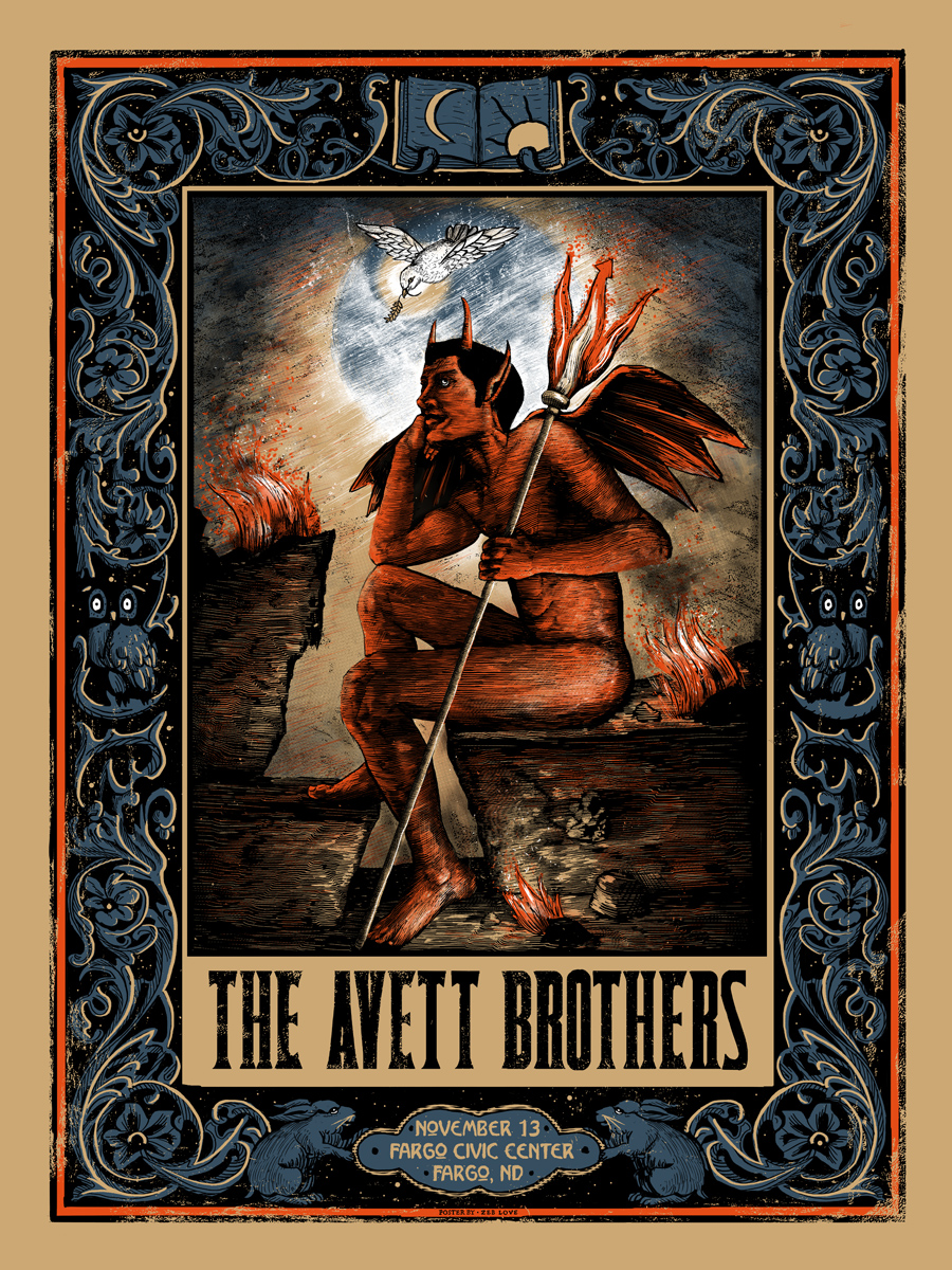 """The Avett Brothers - Fargo, ND 2015"" by Zeb Love.  18"" x 24"" Screenprint.  Ed of 200.  $35"