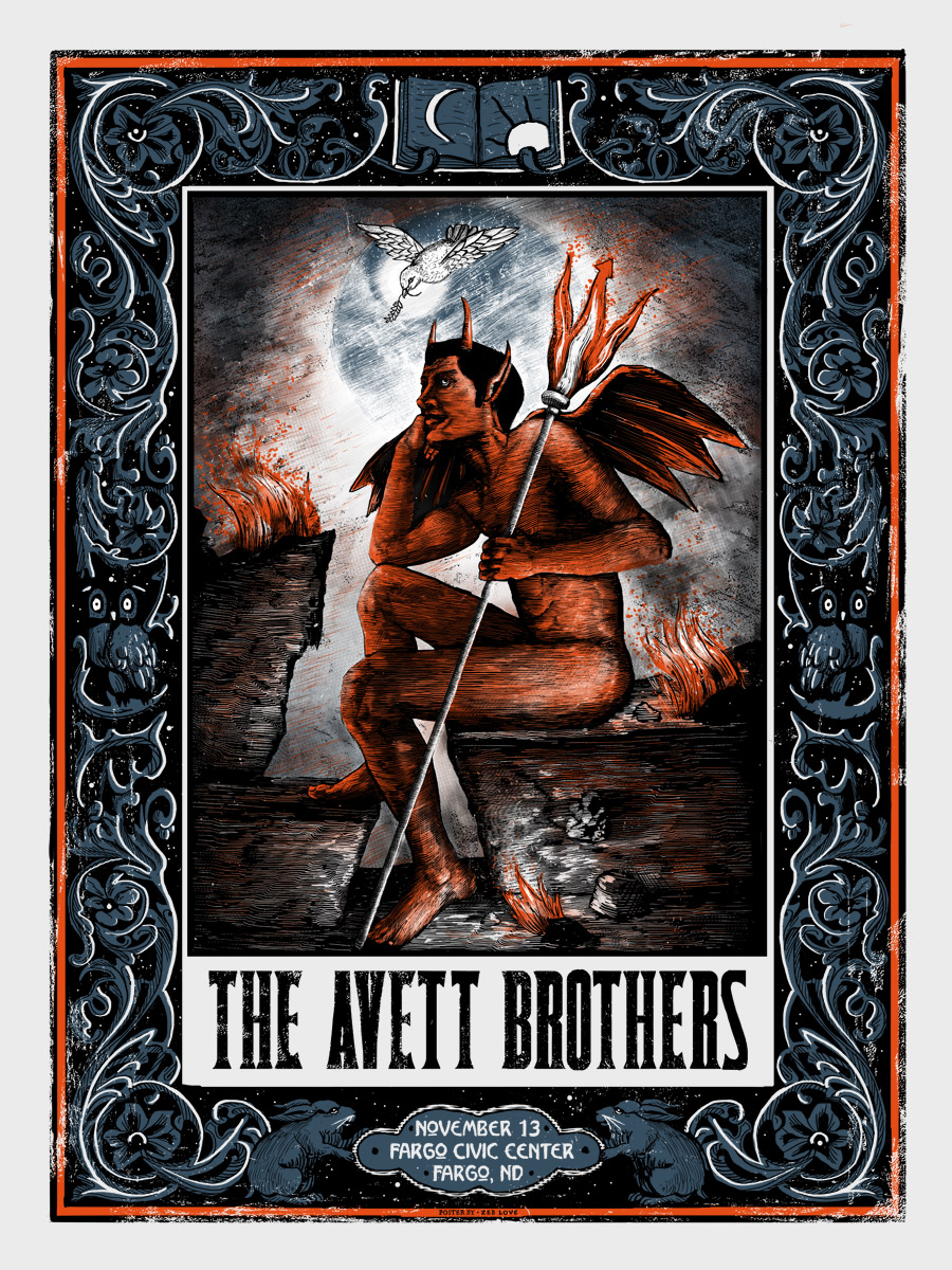"""The Avett Brothers - Fargo, ND 2015"" by Zeb Love.  18"" x 24"" Screenprint.  Ed of 13.  $60 (variant)"