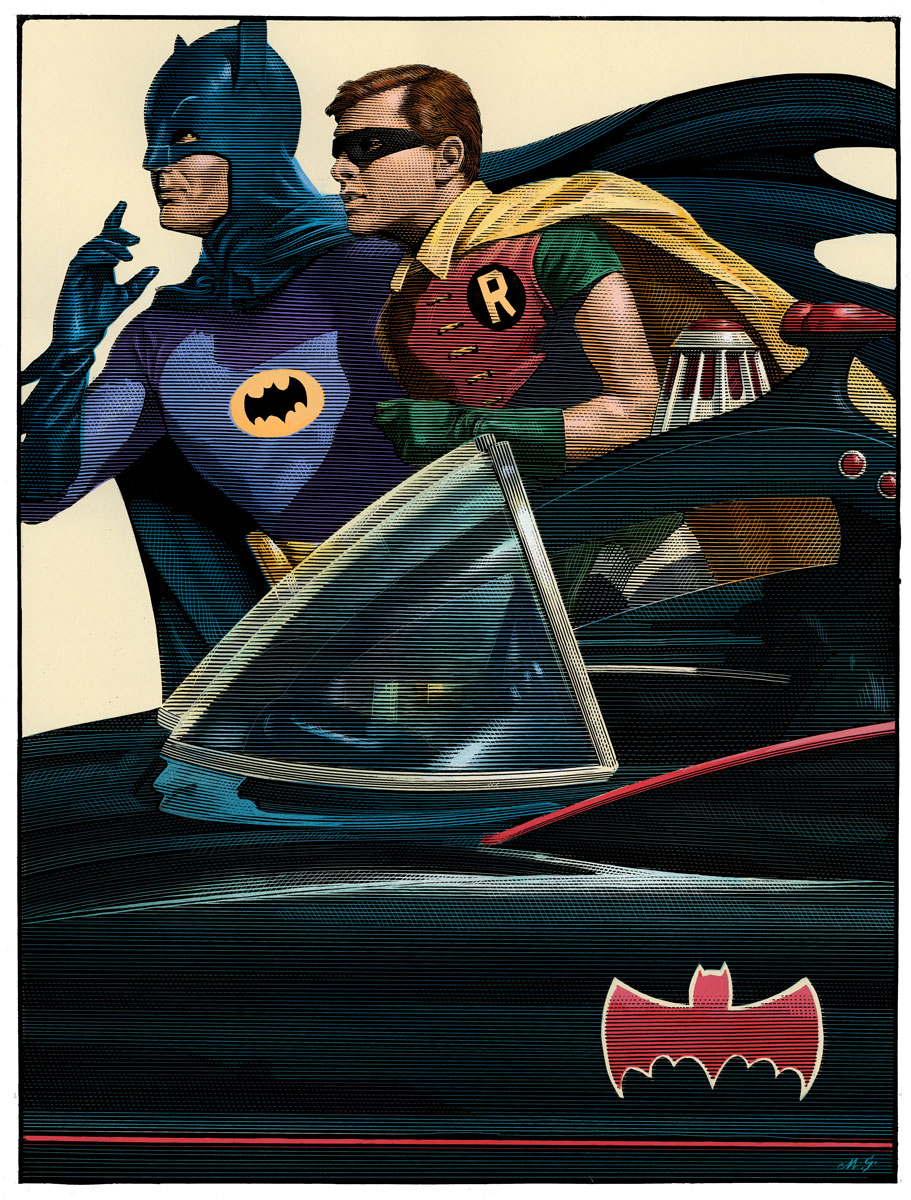 """Batman 66"" by Mark Summers.  18"" x 24"" 18-color Screenprint.  Ed of 150."
